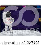 Clipart Of An Astronaut On The Moon With Text Space Royalty Free Vector Illustration by BNP Design Studio