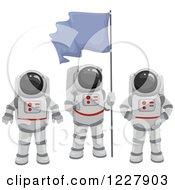 Astronaut Team With A Flag