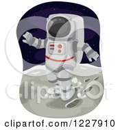 Clipart Of An Astronaut Walking On The Moon Royalty Free Vector Illustration