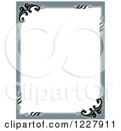 Clipart Of A Border Of Gray And Flourishes Around White Text Space Royalty Free Vector Illustration