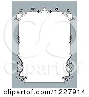 Clipart Of A Border Of Vines And Gray Around White Space Royalty Free Vector Illustration