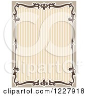 Clipart Of A Border Of Flourishes Around Brown Stripes And Text Space Royalty Free Vector Illustration