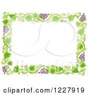Border Of Grape Vines Around White Text Space