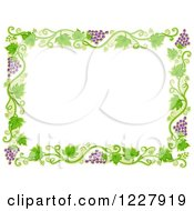 Clipart Of A Border Of Grape Vines Around White Text Space Royalty Free Vector Illustration