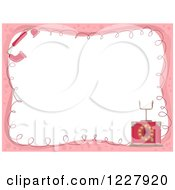 Clipart Of A Border Of A Pink Vintage Landline Telephone Around White Text Space Royalty Free Vector Illustration