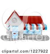 Clipart Of A Barbert Shop Building Royalty Free Vector Illustration by BNP Design Studio