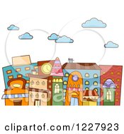 Clipart Of A City With Colorful Buildings Under Clouds Royalty Free Vector Illustration