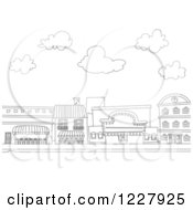Clipart Of Black And White Buildings Along A Street Royalty Free Vector Illustration