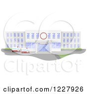 Clipart Of A Hospital Building Facade With Ambulances Royalty Free Vector Illustration by BNP Design Studio