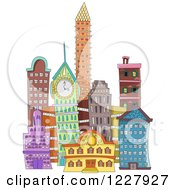 Clipart Of A City With Colorful Buildings Royalty Free Vector Illustration by BNP Design Studio