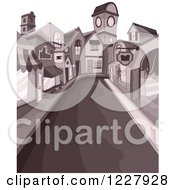 Clipart Of A Deserted Street Through Downtown Buildings Royalty Free Vector Illustration