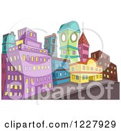 Clipart Of A City With Colorful Buildings Along A Street Royalty Free Vector Illustration