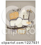 Clipart Of A Venice Background With Venetian Items Over Stripes Royalty Free Vector Illustration