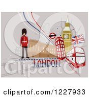 Clipart Of A London Background With British Items Royalty Free Vector Illustration by BNP Design Studio
