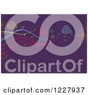 Clipart Of A Purple Background With Clouds And Waves Royalty Free Vector Illustration