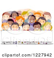 Clipart Of Happy Diverse Children In Rows Behind A Banner Sign Royalty Free Vector Illustration