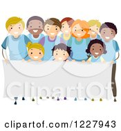 Clipart Of A Happy Diverse Children And Adults In Rows Behind A Banner Sign Royalty Free Vector Illustration