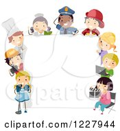 Diverse Children In Occupational Costumes Around A Sign