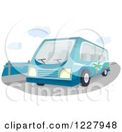 Clipart Of A Tour Bus On A Bridge Royalty Free Vector Illustration