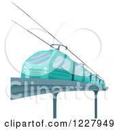 Clipart Of A Blue Electric Train Royalty Free Vector Illustration