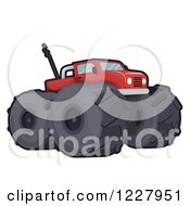 Clipart Of A Red Toy Monster Truck Royalty Free Vector Illustration by BNP Design Studio