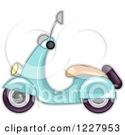 Clipart Of A Blue Scooter Royalty Free Vector Illustration by BNP Design Studio