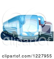Clipart Of A Blue Public Bus At A Stop Royalty Free Vector Illustration