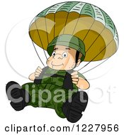 Clipart Of A Paratrooper Soldier Descending Wtih A Parachute Royalty Free Vector Illustration