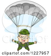 Clipart Of A Happy Paratrooper Soldier Descending Wtih A Parachute Royalty Free Vector Illustration