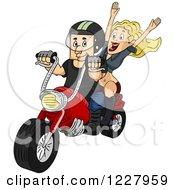 Happy Woman Riding With Her Biker Boyfriend