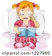Sad Girl Crying And Reding A Book