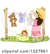 Clipart Of A Brunette Girl Hanging Stuffed Animals On A Clothes Line Royalty Free Vector Illustration
