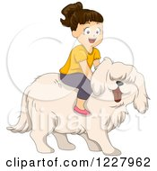 Clipart Of A Happy Girl Riding A Big Sheepdog Royalty Free Vector Illustration by BNP Design Studio