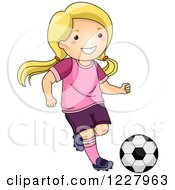 Clipart Of A Happy Blond Girl Playing Soccer Royalty Free Vector Illustration