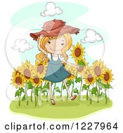 Clipart Of A Happy Blond Country Girl In A Sunflower Field Royalty Free Vector Illustration