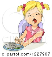 Girl Sticking Her Tongue Out And Pushing Away A Plate Of Fish