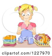 Clipart Of A Happy Blond Girl Folding Laundry Royalty Free Vector Illustration