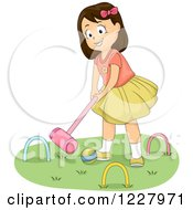 Happy Brunette Girl Playing Croquet