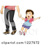 Clipart Of A Girl Pulling On Her Dads Hand And Pointing Royalty Free Vector Illustration