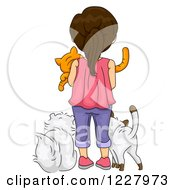 Clipart Of A Rear View Of A Brunette Girl With Cats Royalty Free Vector Illustration by BNP Design Studio