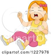 Clipart Of A Girl Crying And Throwing A Temper Tantrum Royalty Free Vector Illustration