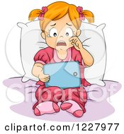 Clipart Of A Sad Girl Crying And Reding An E Book On A Tablet Computer Royalty Free Vector Illustration