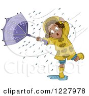 Clipart Of A Black Girl Stuck In A Wind Storm Upturning Her Umbrella Royalty Free Vector Illustration by BNP Design Studio