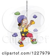 Happy Black Girl Climbing A Wall In A Harness