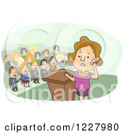 Clipart Of A Sweating Woman Nervous About Giving A Speech Royalty Free Vector Illustration by BNP Design Studio