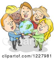 Clipart Of Diverse People Holding A Globe Royalty Free Vector Illustration