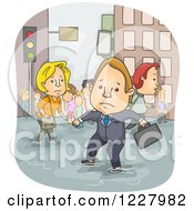Clipart Of A Businessman And Pedestrians Wading Through A Flood Royalty Free Vector Illustration