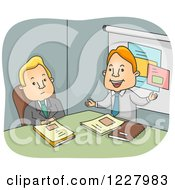 Clipart Of A Bored Man Listening To A Business Proposal Royalty Free Vector Illustration by BNP Design Studio