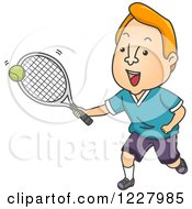 Clipart Of A Male Tennis Player Hitting A Ball Royalty Free Vector Illustration by BNP Design Studio