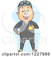 Clipart Of A Male Swimmer Champion With A Medal Royalty Free Vector Illustration